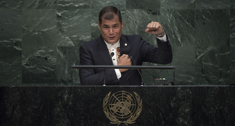 Photo: Rafael Correa, President of Ecuador, addresses the general debate of the General Assembly's seventieth session on 28 September 2015 at the United Nations in New York. UN Photo/Kim Haughton.