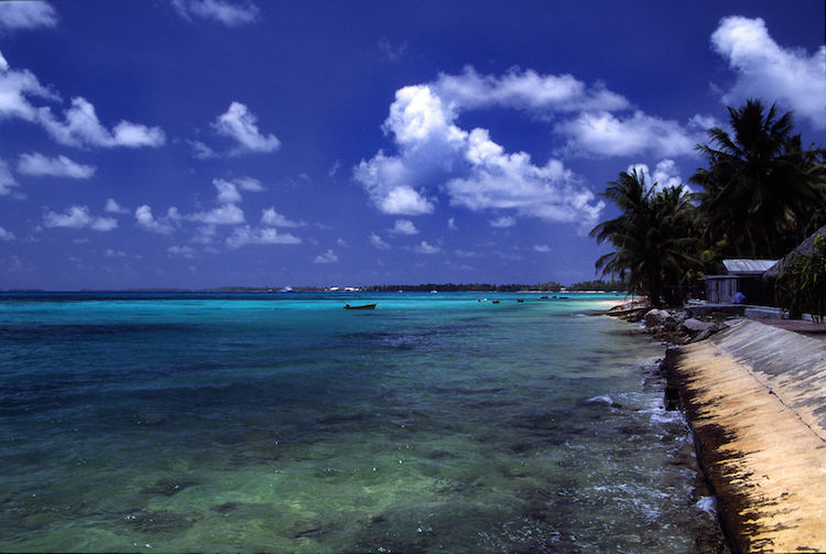 A beach at Funafuti atoll, Tuvalu, on a sunny day. Credit: Wikimedia Commons.