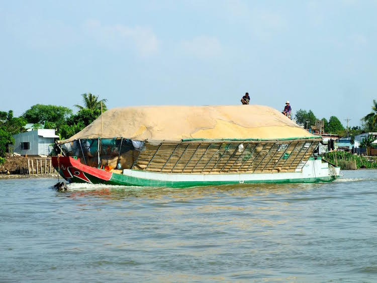 Photo: A rice barge transporting rice on the Mekong River in  Vietnam | Credit: Kalinga Seneviratne