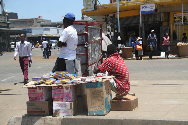 Photo: With Zimbabwe's economy falling apart, the country faces an arduous task to promote inclusive and sustainable economic growth and decent work for all, with many jobless Zimbabweans taking to street pavements as vendors. Credit: Jeffrey Moyo | INPS-IDN.