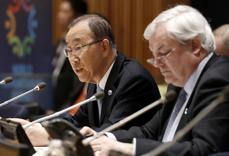 Photo: Secretary-General Ban Ki-moon (left) addresses a meeting to brief Member States on April 4, 2016 on the preparations for the World Humanitarian Summit (WHS), set for 23-24 May in Istanbul, Turkey. At his side is Stephen O'Brien, Under-Secretary-General for Humanitarian Affairs and Emergency Relief Coordinator. Credit: UN Photo/Evan Schneider