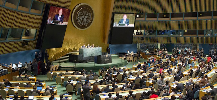 Photo: A view of the UN General Assembly Hall during the High-level Meeting on HIV/AIDS. UN Photo/Rick Bajornas