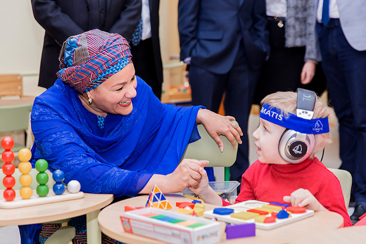 Photo: Deputy Secretary-General Amina J. Mohammed visits a rehabilitation centre for disabled children in Belarus. © Egor Dubrovsky/UN Photo