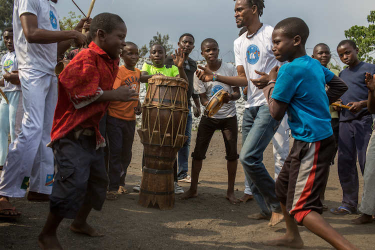 Photo: Capoeira classes with boys formerly associated with armed groups in North Kivu. Credit: Flavio Forner | IDN-INPS