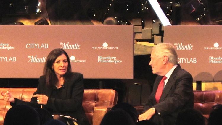 Photo: Paris Mayor Anne Hidalgo (left) discusses sustainability measures at CityLab. Credit: A.D. McKenzie