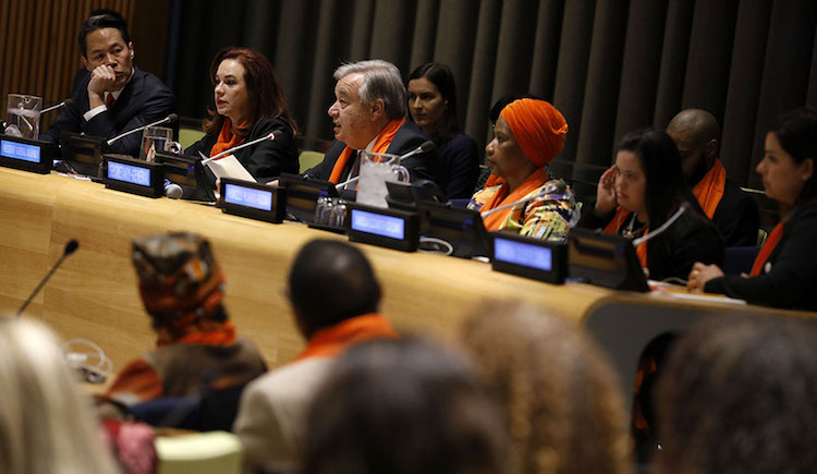 Photo: (L-R) Moderator, news anchor Richard Lui; Maria Fernanda Espinosa Garces, President of the General Assembly; António Guterres, UN Secretary-General; and Phumzile Mlambo-Ngcuka, UN Women Executive Director participate in a panel discussion during the UN . Credit: UN Women/Ryan Brown