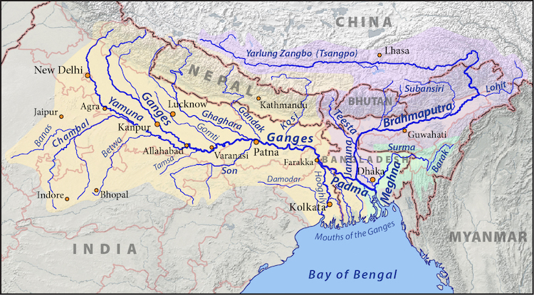 Image: Map of the Ganges (orange), Brahmaputra (violet), and Meghna (green) drainage basins. Credit: CC BY-SA 3.0