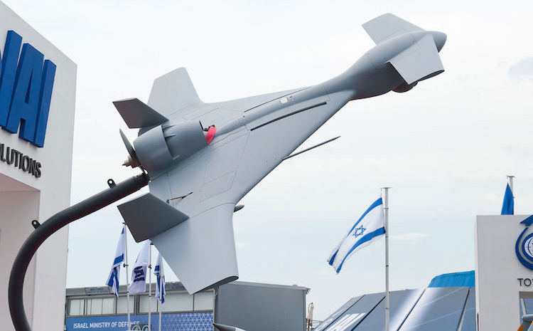 Photo: The IAI Harop (or IAI Harpy 2) is a loitering munition developed by the MBT division of Israel Aerospace Industries. It is an anti-radiation drone that can autonomously home in on radio emissions. Rather than holding a separate high-explosive warhead, the drone itself is the main munition. CC BY 4.0.