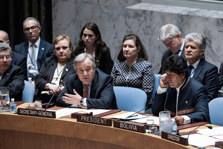 Photo: Secretary-General António Guterres addresses Security Council meeting on Maintenance of International Peace and Security: Preventive Diplomacy and Transboundary waters. To his right is President Evo Morales Ayma of Bolivia. UN Photo/Kim Haughton