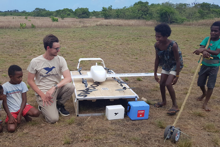 Photo: World's first drone-delivered vaccine in Vanuatu. The vaccine delivery covered almost 40 kilometres of rugged mountainous terrain from Dillon's Bay on the west side of the island to the east landing in remote Cook's Bay. UNICEF/Pacific