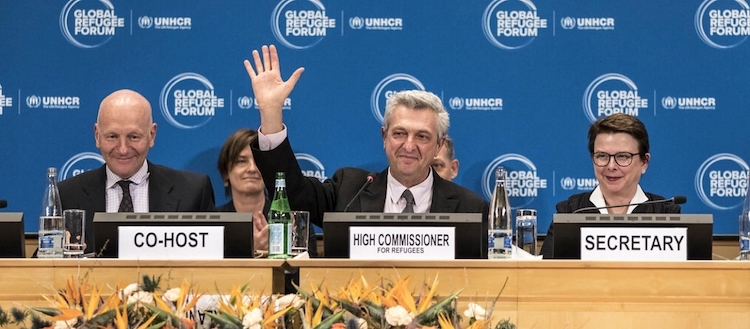 Photo: UN High Commissioner for Refugees Filippo closes the Global Refugee Forum. © UNHCR/Andrew McConnell