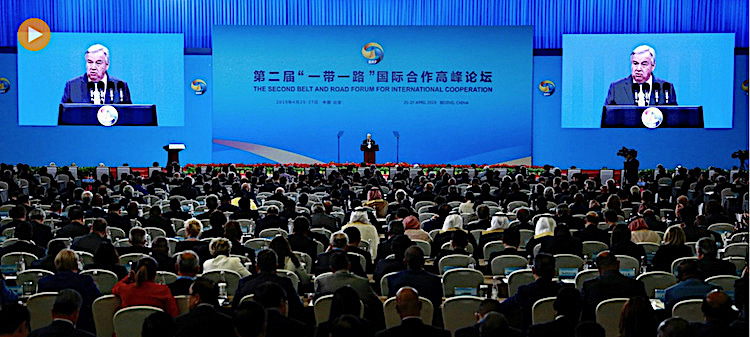 Photo (Screenshot): UN Secretary General António Guterres delivered remarks at the opening of Belt and Road Forum for International Cooperation in Beijing on April 26. Credit: UN China/Zhao Yun