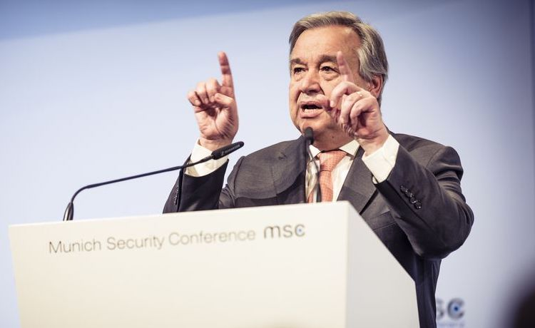 Photo: UN Secretary-General António Guterres addressing opening ceremony of the Munich Security Conference 2018 on 16 February. Credit: MSC / Kuhlmann