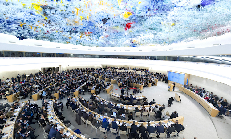 Photo: A wide view of the room as Secretary-General António Guterres (at podium) makes remarks at the opening of the 40th session of the Human Rights Council in Geneva on 25 February 2019. Credit: UN Photo/Violaine Martin