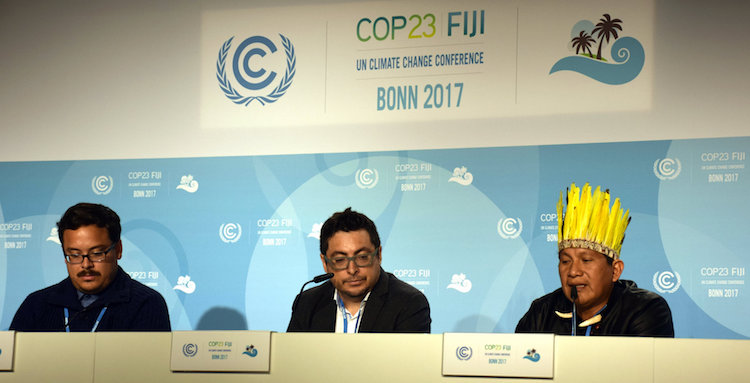 Leaders from Indigenous communities speak at a press conference in COP 23. Credit: Stella Paul | IDN-INPS