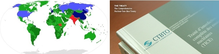 Collage by IDN-INPS showing the map depicting participation of 190 States recognized as parties to the NPT, and the CTBT text.