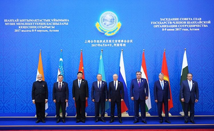 Photo: The Shanghai Cooperation Organization Heads of State Council Meeting presided by Kazakh President Nursultan Nazarbayev.