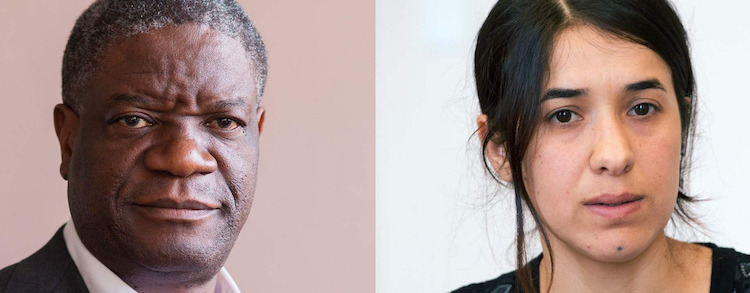 Photo: The two Nobel Peace laureates: and Denis Mukwege. Credit: Amnesty International.Photo: The two Nobel Peace laureates: Nadia Murad and Denis Mukwege.