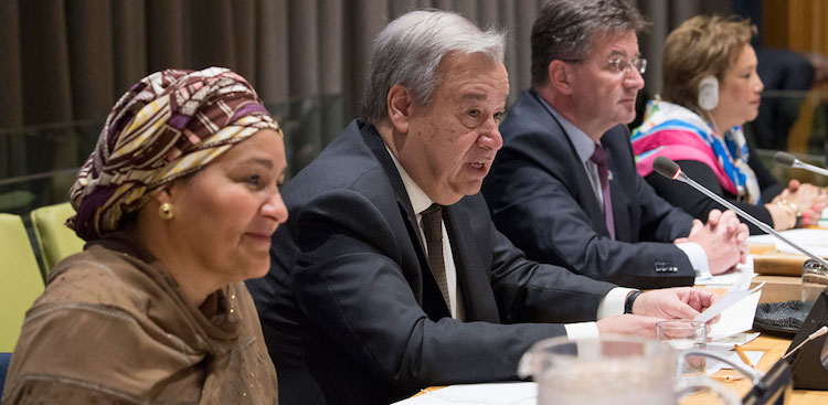 Photo: Secretary-General António Guterres (centre) addresses the General Assembly on the repositioning of the UN Development System. To his left is Deputy Secretary-General Amina Mohammed and at right is General Assembly President Miroslav Lajčák. UN Photo/Eskinder Debebe