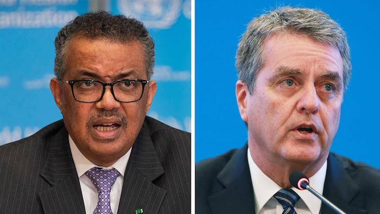 Photo: WHO Director-General Tedros Adhanom Ghebreyesus (left) and WTO Director-General Roberto Azevêdo (right). Credit: WHO/WTO